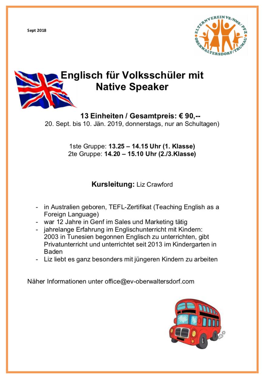 Englisch Mit Native Speaker Volksschule Oberwaltersdorf